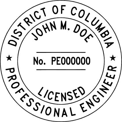 District Of Columbia Professional Engineer Stamp