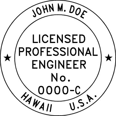 Hawaii Professional Engineer Stamp